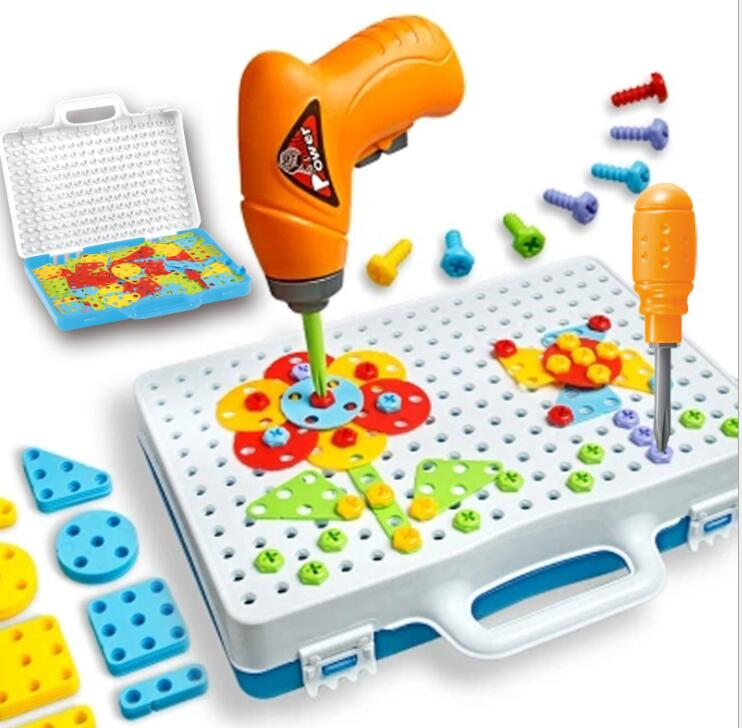 Kids Drill Toys Educational Puzzle Electric Drill Screws