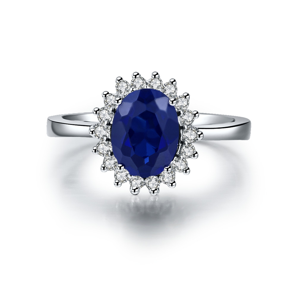 15CT Oval Cut Simulate Sapphire Engagement Ring Halo