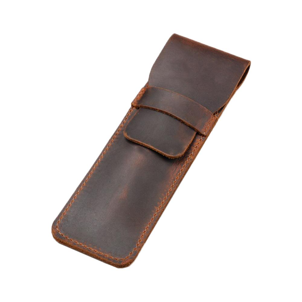 Leather Pen Holder Brown Fountain Pen Pouch Pencil Holder Handmade Ballpoint Pen Protective Sleeve Cover For Office College Univ