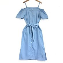 Denim Shirts Dress Women Loose Thin Strap Off Shoulder Dress Girls Ladies Casual Dresses Nancylim все цены