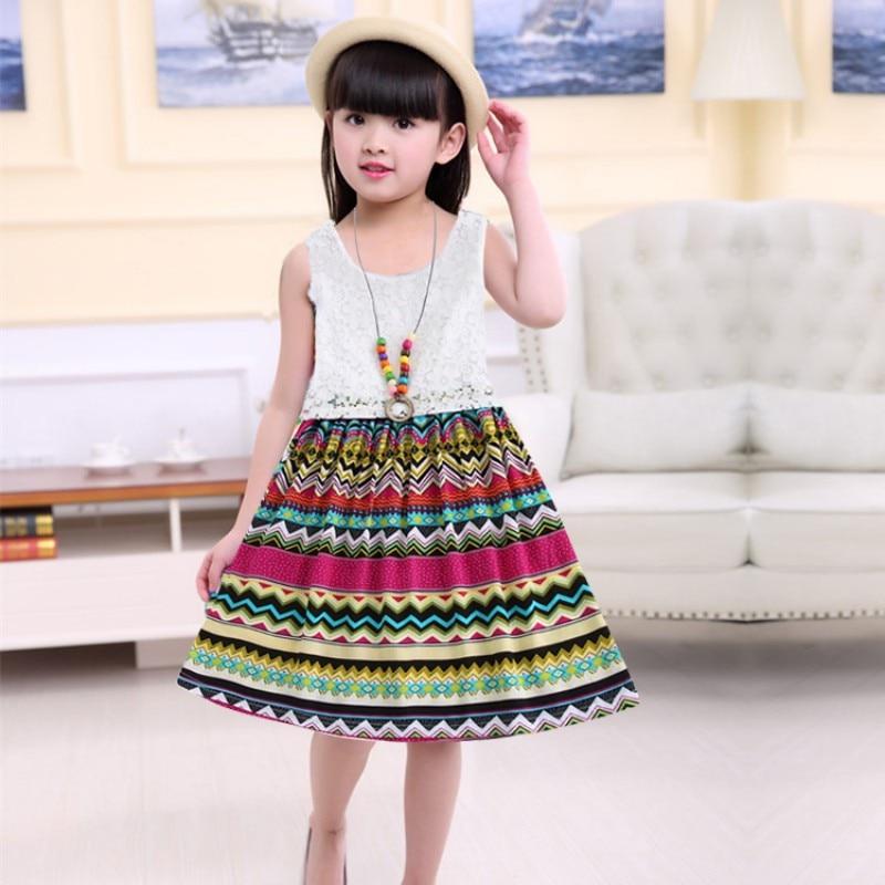 2018 новые летние модные детские майка с цветочным принтом платье для девочек платье для маленьких девочек пляжные платья От 2 до 15 лет