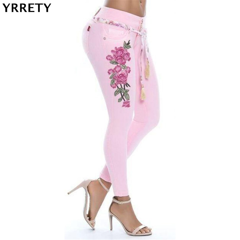 YRRETY Jeans For Women Stretch Jeans Woman Embroidery Pants Skinny Women Jeans With High Waist Denim Ladies Push Up Blue Jeans