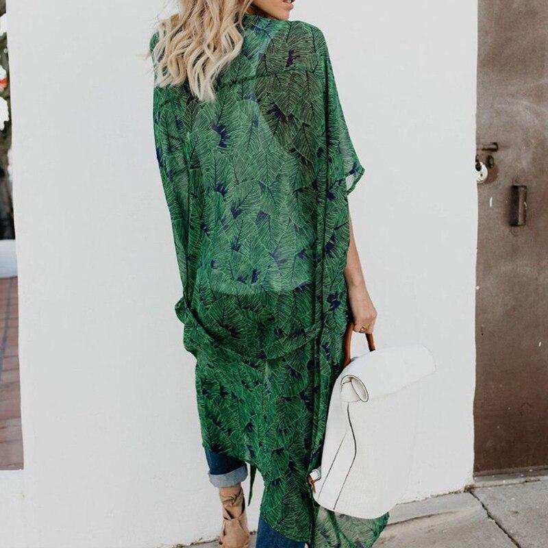 Femina Cardigan Hasta Blusa Cubrir Floral Mujeres Gasa Impreso 2018 Verano Camisa Caliente Verde Boho Casual Atractiva ZtwFP7q