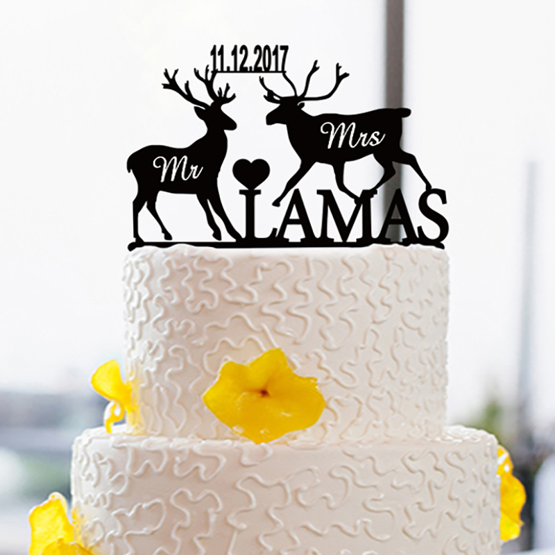 Personalized Wedding font b Cake b font font b Topper b font with Name and Date