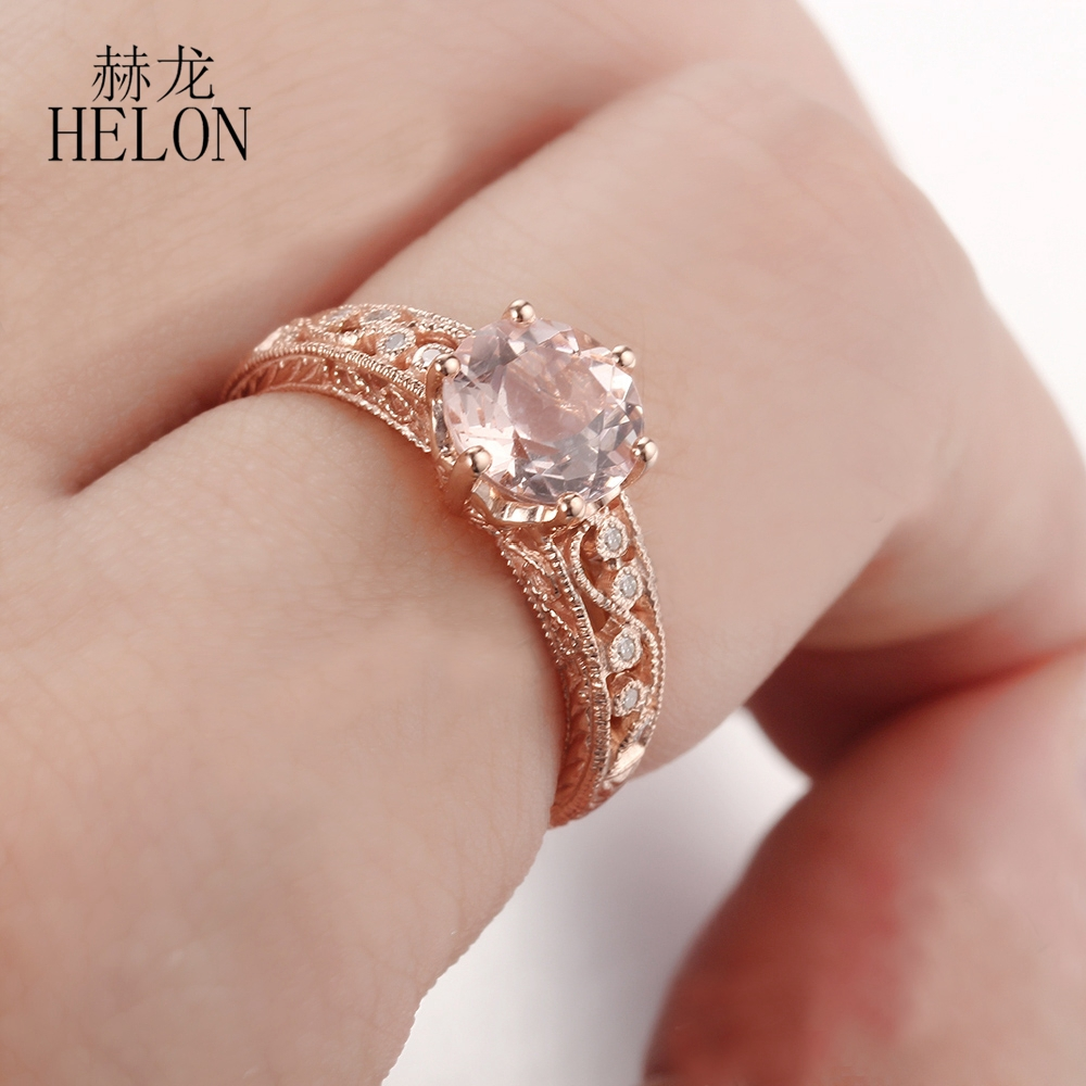HELON STUNNING SOLID 14K ROSE GOLD 7.5MM ROUND PINK MORGANITE ...