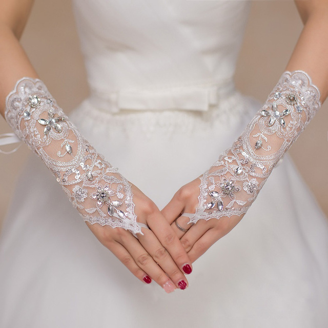 Modern Wedding Gloves Lace With Beads Women Bridal Party Glove Short White Fingerless Of