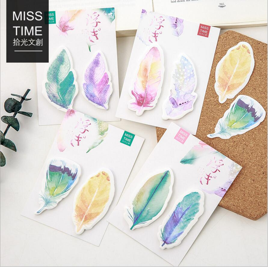 36 pcs/Lot Floating feather sticky note Rainbow planner stics