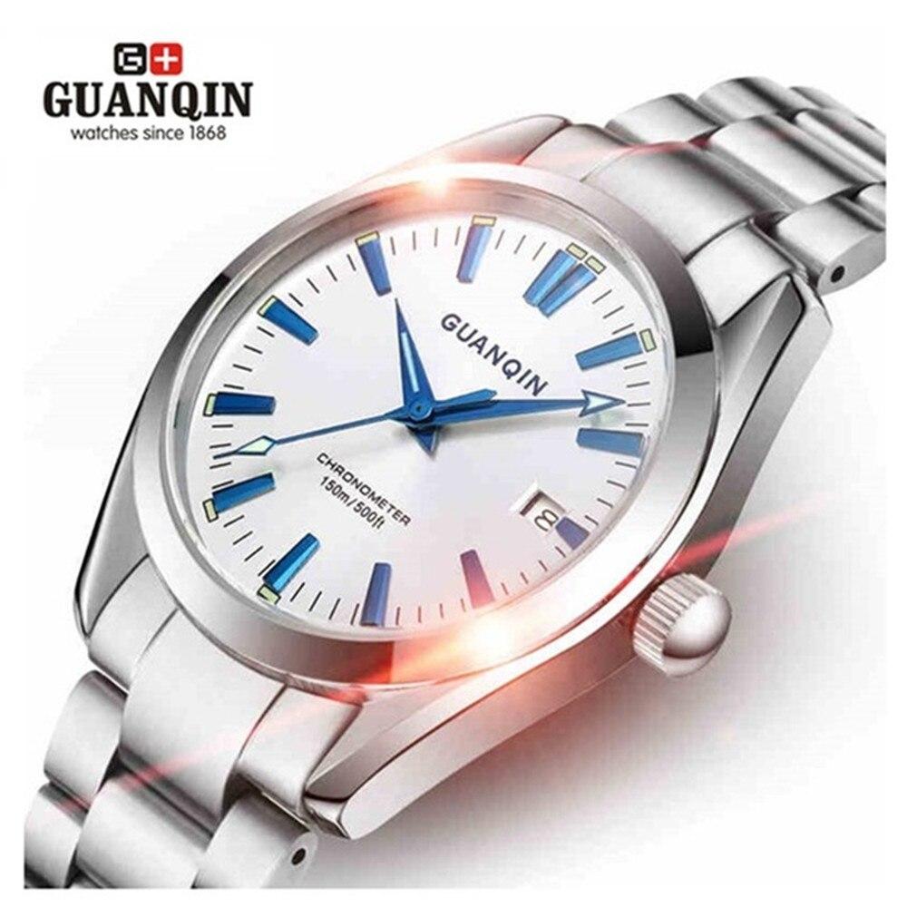 2018 GUANQIN Montre Hommes De Luxe Automatique Mécanique Montres Lumineux Étanche Hommes D'affaires Montre Homme Horloge Relogio Masculino