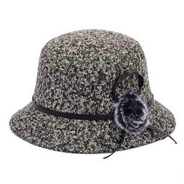 870808af71d7f 2018 mujeres de invierno sombrero del cubo de lana sombreros para damas moda  flor decoración mezcla
