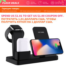 For apple watch charger 3 In 1 Charging Dock Station Bracket Cradle Stand phone holder  For IPhone XR X 8 7 6 Wireless QI Dock crested dock station stand for apple watch 4 3 2 1 iwatch 42mm 38mm aluminum holder charger charging cradle bracket high quality