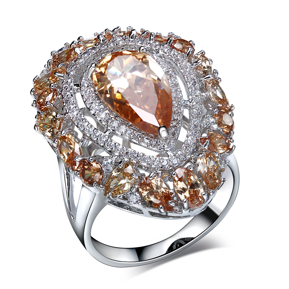 New Fashion Wedding Party Rings Cubic Zirconia Platinum Plated Lead Free  Brass Champagne Stone Rings