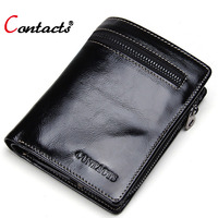 CONTACT S Men Genuine Leather Short Wallets High Quality Men Wallets Purses Famous Designer Card Holder