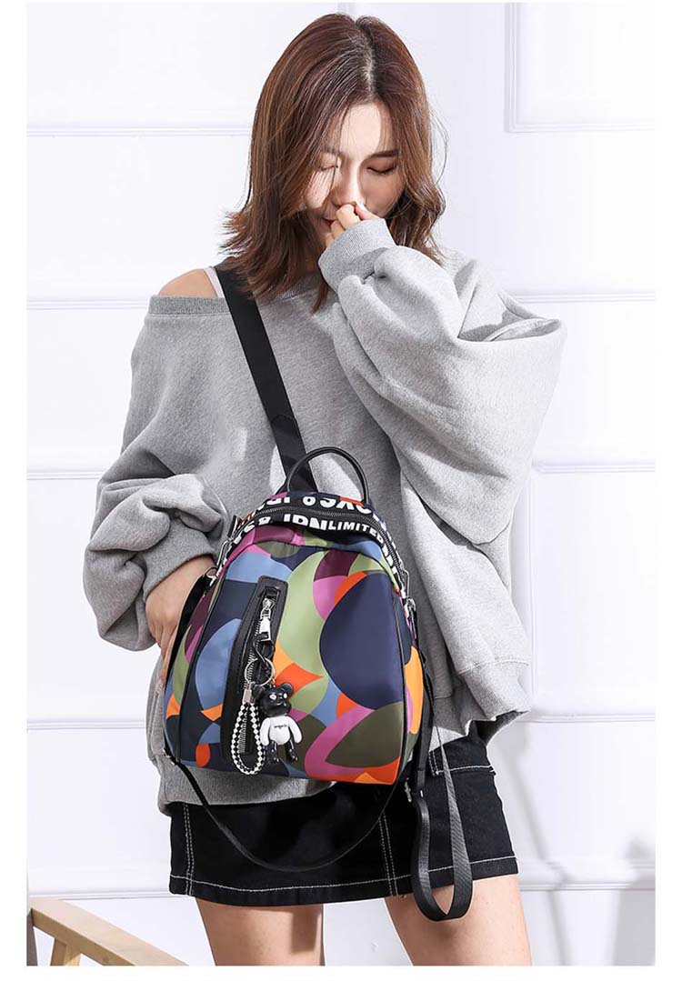 HTB1IAfRaUzrK1RjSspmq6AOdFXaW 2019 new ladies bear pendant Multifunction backpack high quality youth color backpack girl casual large capacity Bags for women