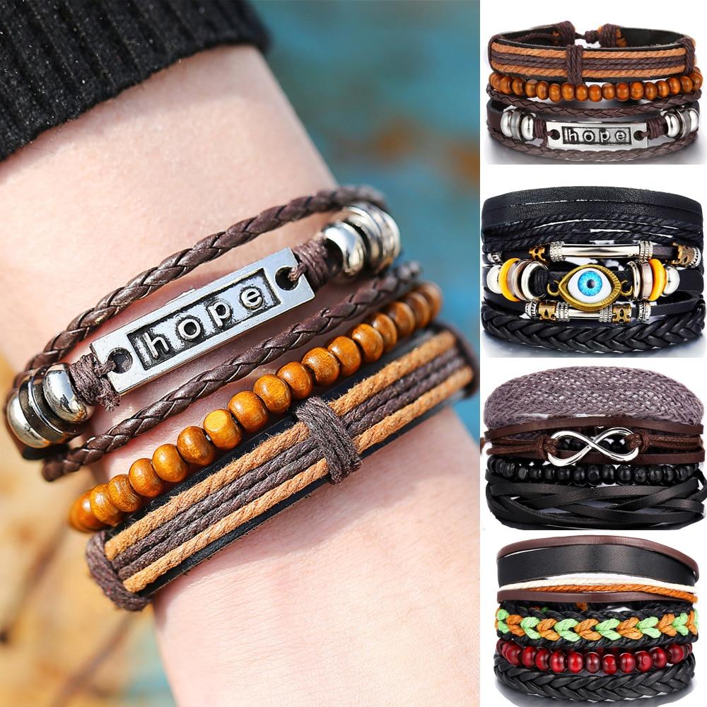 lucky-shopping Vintage Multilayer Bracelet Men Casual Fashion Braided Leather Bracelets for Women Leaf Wood Bead Bracelet Punk Rock Men Jewelry