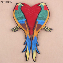 Prajna Big Embroidered Bird Patches Sewing Iron On Patches Flower Logo Stripes for Clothes Applique Patch Phermocollants Rose D1