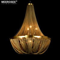 Vintage Aluminum Light Chandelier French Empire Bronze Lustres Post Chain Illumination Hanging Lamp for Living room Foyer