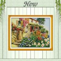 Villa jardim beleza casa cabine Cenário, contados impressão na lona DMS DMC 14CT 11CT Ponto Cruz Bordados kits Conjunto de agulha