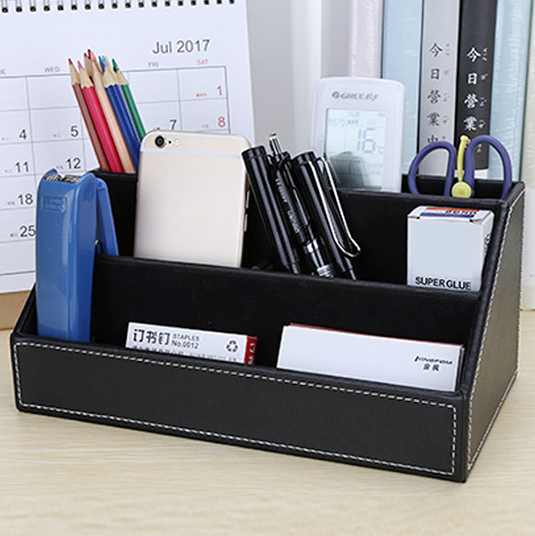 Five Compartment Storage Box Large Capacity Desktop Holder Artificial PU Controllers Container Smartphones Cosmetics Office