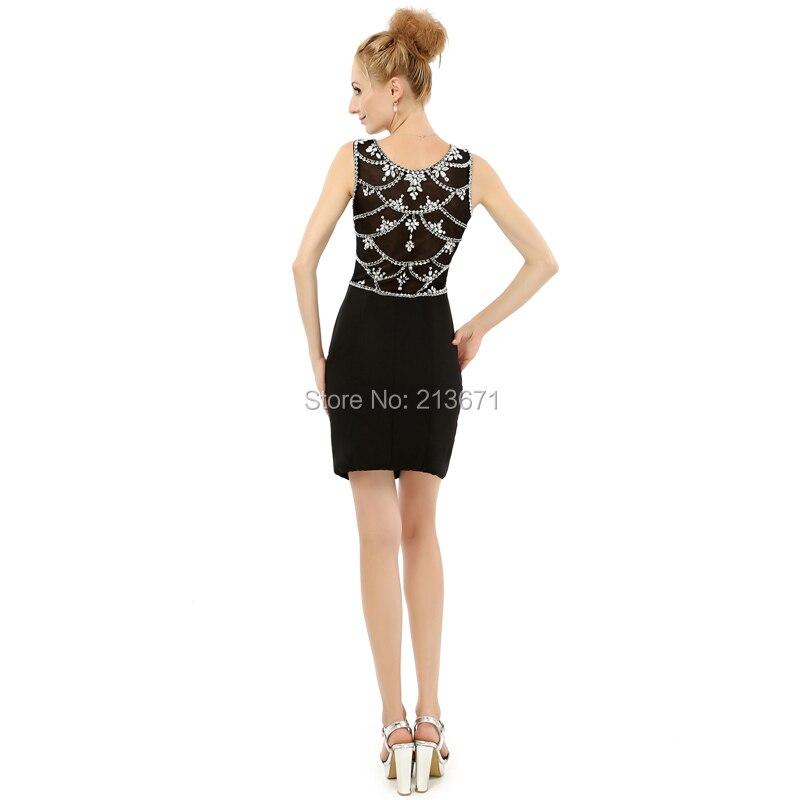 2018 New Style Short Black Graduation Dresses Scoop Collar Above-Knee Evening Dresses Prom Party Dress Vestidos De Festa