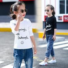 Autumn Leisure All-match Children Girls Long Sleeved T-shirt Bottoming Kids Clothing Cotton White Black