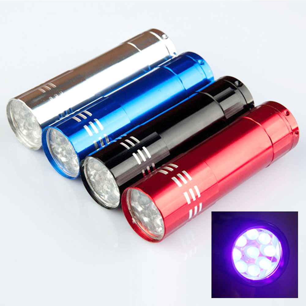 Romantic Mini Aluminum Portable Uv Ultra Violet Blacklight 9 Led Uv Flashlight Torch Light Lamp Flashlight Black Lights & Lighting