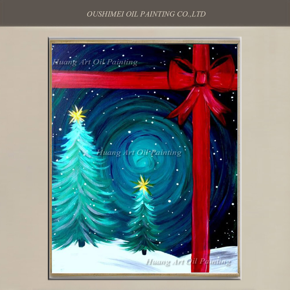 Hand Painted Christmas Tree Painting on Canvas Modern Starry Sky Landscape Bowknot Oil Painting for Christmas Decoration Gift