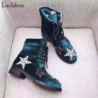 Luchfive Red green Rhinestone Women Snow Boots Winter Shoes crystal studded five Star low heel velvet Ankle boots for women