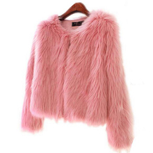 Girl Faux Fur Coat With Cotton Padded Pink Fur Outerwear Lady Winter Long Sleeve Fur Jacket Furry Fur Top