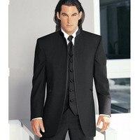 Özel Yapılmış Damat Smokin çin Stilleri Groomsmen Yeni Varış Düğün Yemeği Suit İyi Adam Damat (Ceket + Pantolon + kravat + Yelek)