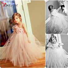 Princess Sweet Pink Little Girl Dress 2016 Ball Gown One Shoulder Hand Made Flowers appliques For Wedding Birthday Party Dresses
