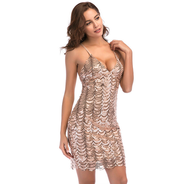 Elegant short champagne sequin dress