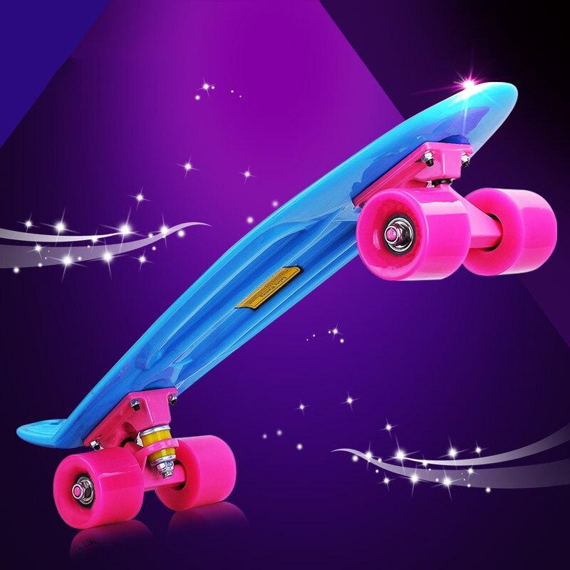 2018 Новый Многоцветный peny доска, скейтборды полный Ретро elektroscooter мини лонгборд скейт Рыба скейтборд белый черный доска