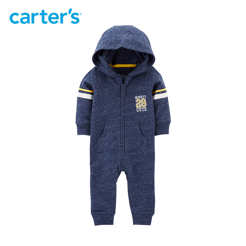 1pcs Mighty cute embroidered slogan hooded jumpsuit Carter's baby boy fall winter clothing 118I407 slogan print top