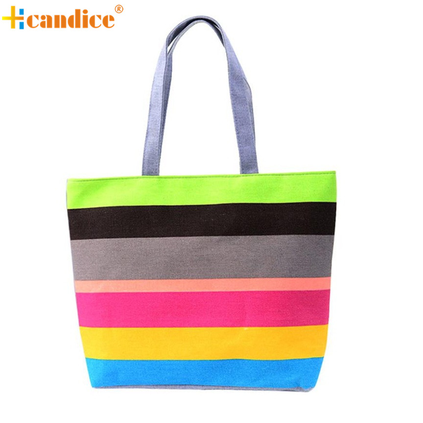 Naivety 2016 New Fashion Summer Lady Colorful Wavy Stripes Printing Shopping Handbag Shoulder Bag Casual Shopping Tote JUN7U