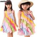 WEONEDREAM 4-12T Summer Girls Dress 2017 Chiffon Candy Rainbow Toddler Girl Dresses Strap Beach Princess Dress for Girls Clothes
