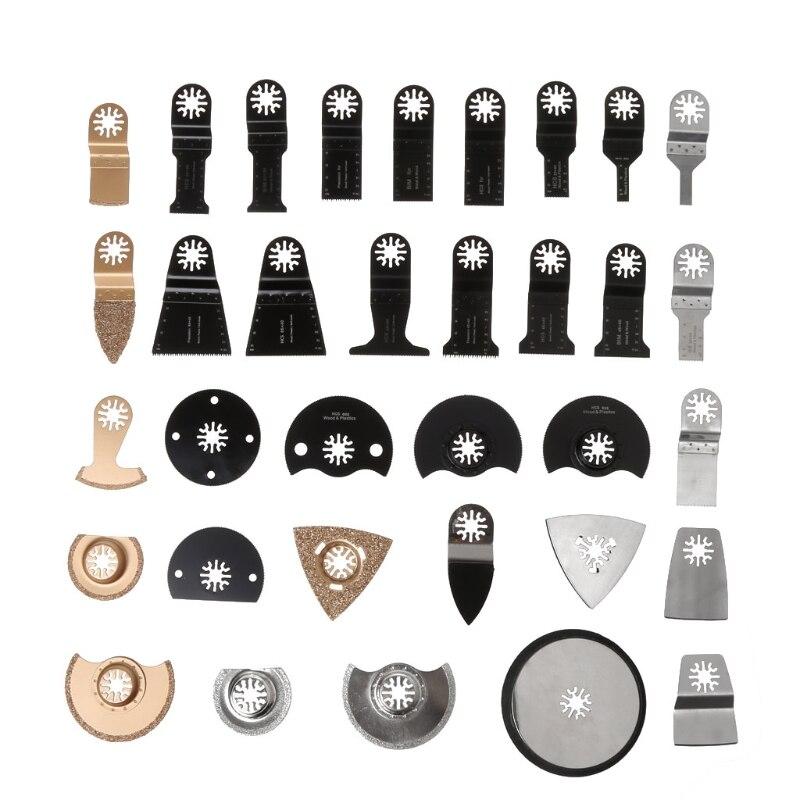 34Pcs/Set Oscillating Multi Tool Saw Blades Accessories kit for Fein Dremel Bosch cnbtr 20pcs 77mm hard alloy v cut shape universal diamond oscillating saw blades