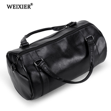 WEIXIER 2019 New Fashion PU Leather Mens Black Travel Duffle Big Bag Male Shoulder Messenger Brand Design Handbag