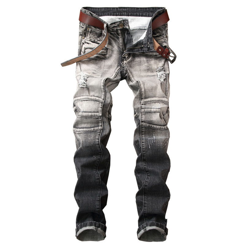 MORUANCLE New Mens Casual Ripped Jeans Pants Distressed Denim Trousers Joggers For Man Grey Washed Straight High Quality