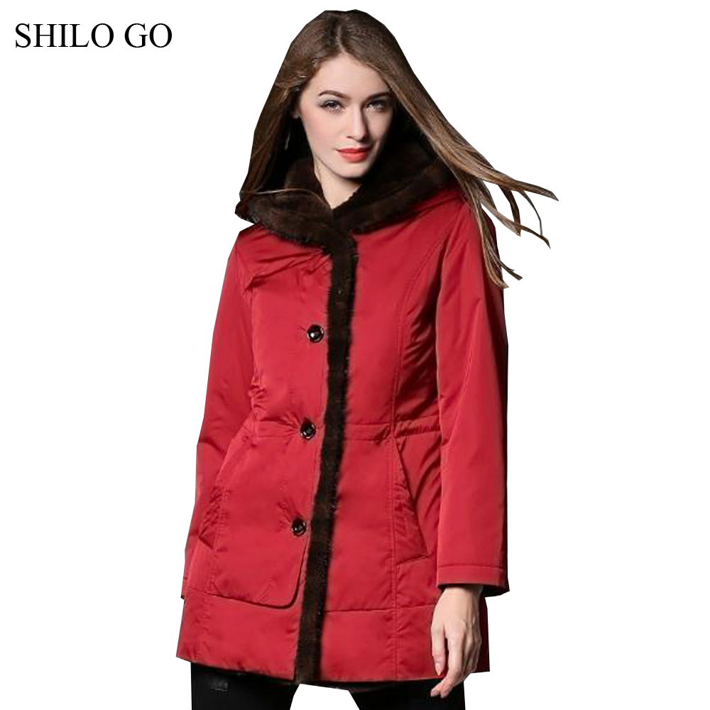 4XL New Women Winter Red Jacket Coats Thick Parkas Plus Size Real Brown Mink Collar Hooded Rabbit Lining Outwear Fur coat qimage plus size 4xl winter coats 2017 new women long parkas large fur collar jacket coat female thick warm coat ladies outwear