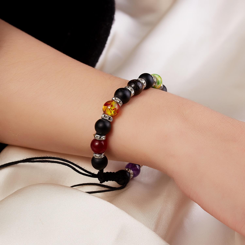 Classic Chakra 8mm Lava Stone Beads 7 Color Chain Bracelets for Women Men Elastic Rope Yoga Fashion A Bracelet Friendship 16