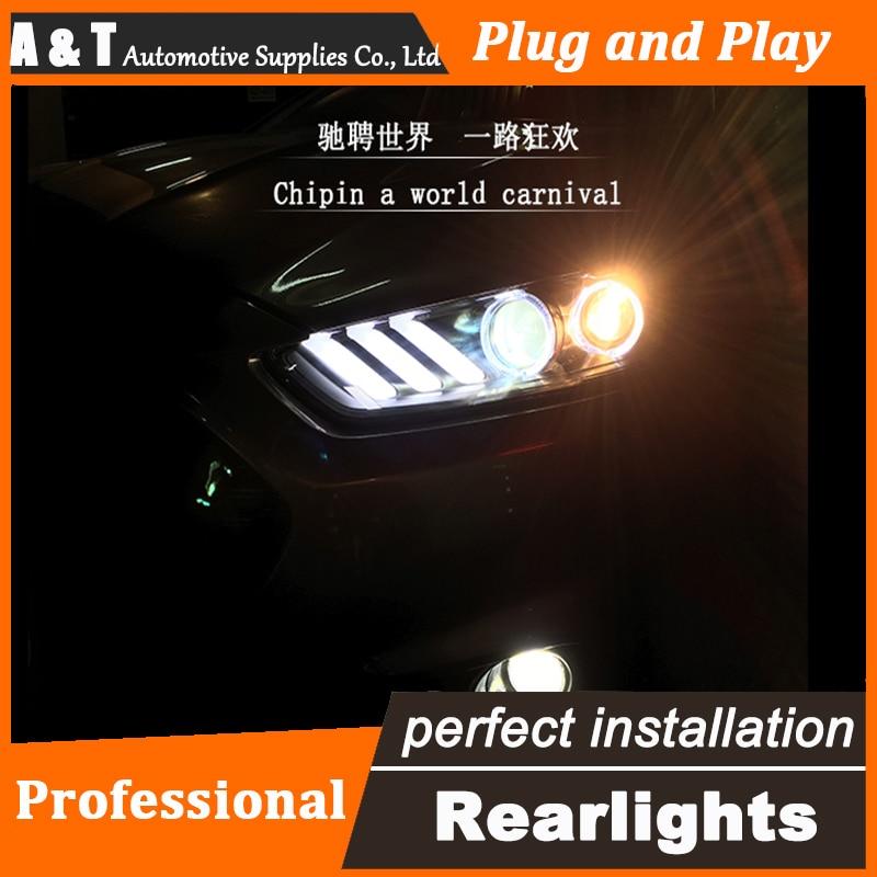 Авто.Про стайлинга автомобилей для 2013-2015 Форд Мондео передняя фара в сборе Mustan LED объектив фар DRL двойным Луч H7 с HID комплект 2шт