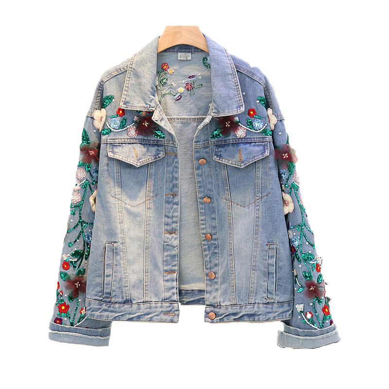 Floral Embroidered Denim Jacket Women Lace Sequined Spliced Basic
