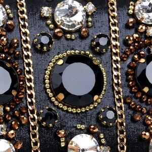 Image 5 - SEKUSA التطريز حقائب النساء مطرز سلسلة إكسسوارات معدنية يوم براثن حفل زفاف مساء حقائب جانب واحد الماس محفظة