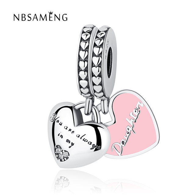 New 925 Sterling Silver Bead Mother Daughter Hearts Soft Pink Enamel Crystal Pendants Charms Fit