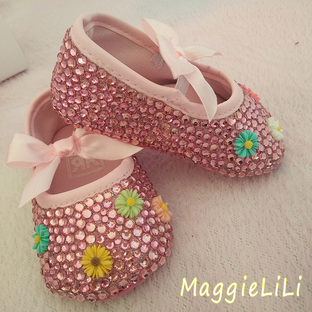 free shipping Crystal flowers Rhinestone baby shoes Christening Birthday soft bottom shoes bling bling diamond  Baby Girl Shoes