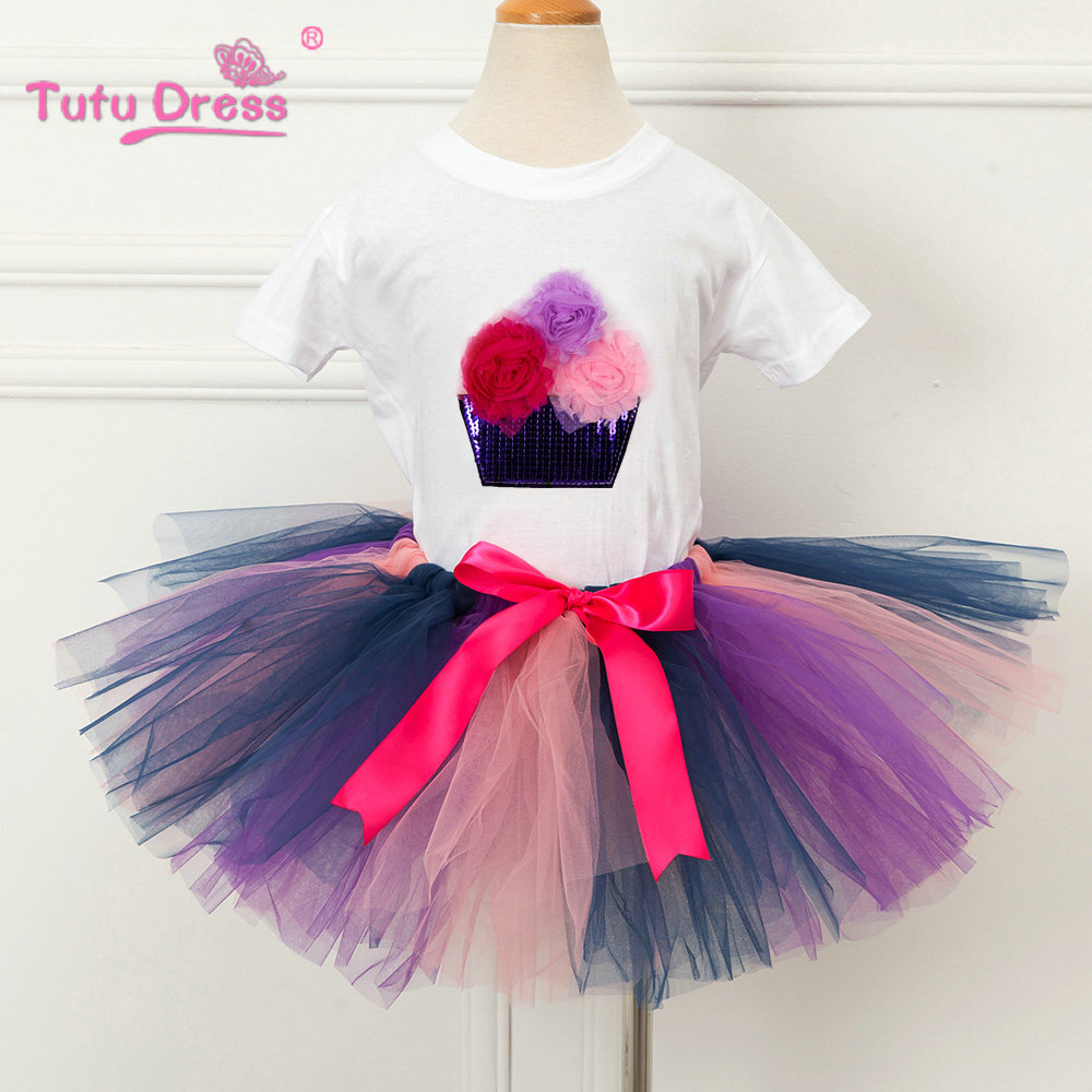 Children Cotton Tops&T-shirt+Tutu Skirt 2Pcs/sets Flower Girls Clothing Sets Baby Kids Clothes Set For 2-10 11 12 Years  2017 children clothes kids t shirts adventure time 100% cotton white t shirt for boys and girls tops baby tshirt free shipping