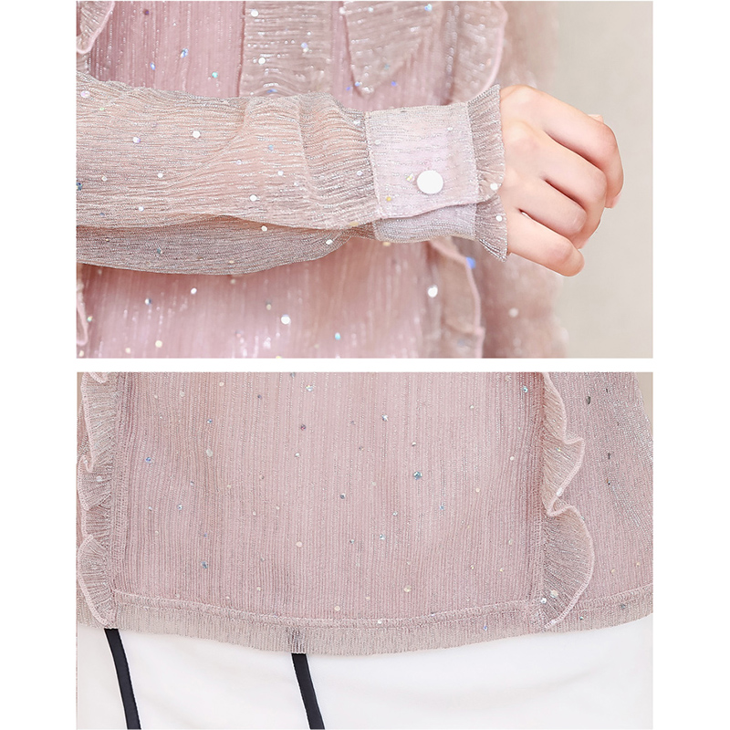 Korea Style Women Blouse Shirts 2018 Elegant Ruffles Women Tops Plus Size warm Solid Casual Loose Shirt blusas feminina NW1055 6