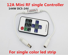 Wholesale 100PCS  Wireless Mini RF single color led dimmer Controller 12A 144W DC5-24V