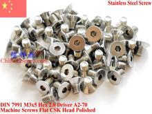 Stainless Steel screws M3x5 CSK Flat  Head DIN 7991 Hex Driver A2-70 Polished ROHS цена