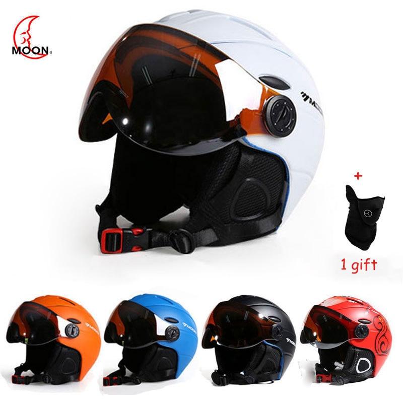 LUNE Professionnel Semi-couverte CE casque de ski Moulée Intégralement Sport homme femmes Ski Casques Snowboard avec Lunettes Masque